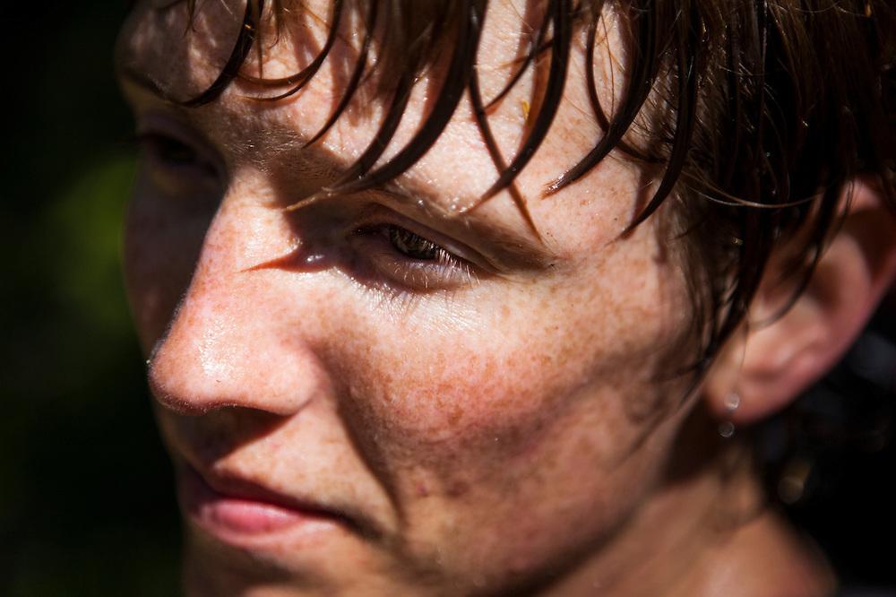 Ian Derrington, sweaty from effort, in the Bacon Creek drainage, Mount Baker-Snoqualmie National Forest, Washington.