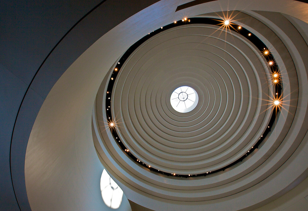 The spectacular domed atrium at the Smithsonian Institution's National Museum of the American Indian (NMAI), the first national museum dedicated to the preservation, study, and exhibition of the life, languages, literature, history, and arts of Native Americans.