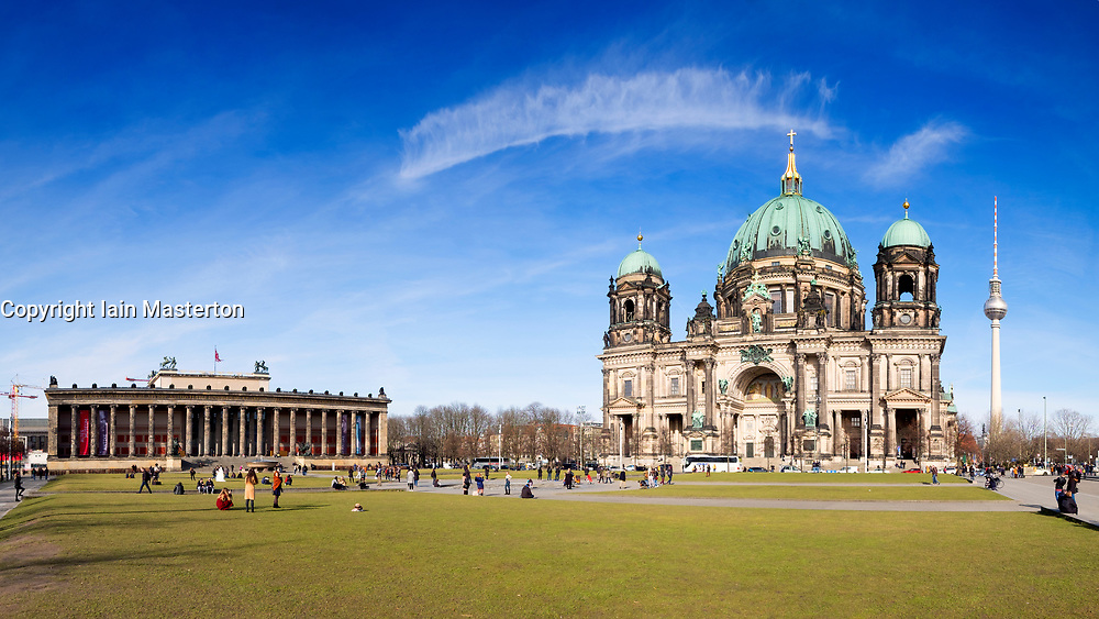 View of Berlin Cathedral (Berliner Dom) in Lustgarten Park on Museumsinsel in Mitte Berlin, Germany