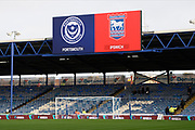 Portsmouth and Ipswich Town logos on the big screen ahead of the EFL Sky Bet League 1 match between Portsmouth and Ipswich Town at Fratton Park, Portsmouth, England on 21 December 2019.
