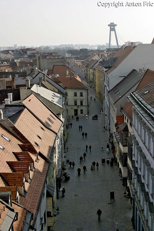 Michalska ulica in Bratislava viewed from Michalska veza. Novy most (New bridge) in the back.