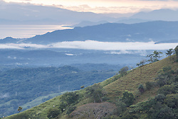 View to Pacific Ocean from cloud forest near Monteverde Cloud Forest Preserve, Costa Rica.