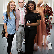 """18.05.2018.          <br /> More than 500 people attended the flagship event of the inaugural Unwrap LSAD Fashion Festival in Limerick.<br /> <br /> Pictured at the event were, Orlaith Melia, Martin Dolan and Christiana Adeyemo.<br /> <br /> The Limerick School of Art & Design, LIT, Fashion Design Graduate Exhibition and launch of the """"The Fashion Film"""" at Limerick City Gallery of Art, in partnership with EVA International, attracted hundreds of people from the world of fashion. <br /> <br /> A total of 27 fashion graduates presented their designs alongside the specially commissioned film by fashion stylist and creative director Kieran Kilgallon and videographer Albert Hooi. Picture: Alan Place"""