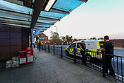 "British Transport Police responded to an incident in Wembley Park Station in London on Monday, Sept 14, 2020.  BTP also brought dog units at the station following the incident, but they wouldn't give any details about the incident other than that they were after a suspect who was alleged to have been in one of the Jubilee Line trains. People in twitter were complaining about TFL staff quote: ""The staff are useless, just kicking people off of trains with no explanation. Empty trains going towards Wembley."" (VXP Photo/ Vudi Xhymshiti)"