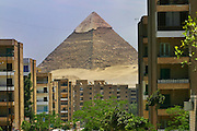 The Pyramid of Khafre, one of the massive ancient Egyptian Pyramids of Giza, seen from the city Giza, Egypt.