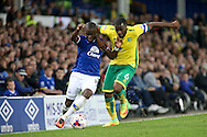 Enner Valencia of Everton is held back by Sebastien Bassong of Norwich City. EFL Cup, 3rd round match, Everton v Norwich city at Goodison Park in Liverpool, Merseyside on Tuesday 20th September 2016.<br /> pic by Chris Stading, Andrew Orchard sports photography.