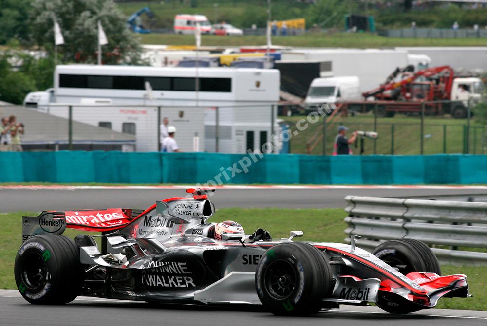 Kimi Raikkonen (McLaren-Mercedes) in qualifying for the 2006 Hungarian Grand Prix at the Hungaroring outside Budapest. Photo: Grand Prix Photo