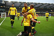Sebastian Prodl of Watford (c) celebrates after scoring his sides 2nd goal with Troy Deeney, the Watford captain and Adlene Guedioura of Watford. Premier league match, Watford v Everton at Vicarage Road in Watford, London on Saturday 10th December 2016.<br /> pic by John Patrick Fletcher, Andrew Orchard sports photography.