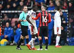 Stoke City's Papa Badou Ndiaye (left) clashes with AFC Bournemouth's Lewis Cook during the Premier League match at the Vitality Stadium, Bournemouth.