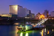 Europa, Deutschland, Koeln, die Ellmuehle oder Aurora Muehle im Deutzer Hafen, Drehbruecke.<br /> <br /> Europe, Germany, Cologne, the Ellmill or Aurora mill at the harbor in the district Deutz, pivot bridge.