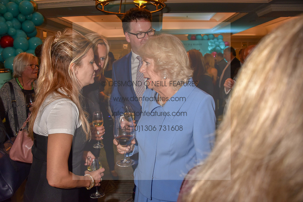 Sara Parker Bowles and HRH The Duchess of Cornwall at the launch of the Fortnum & Mason Christmas & Other Winter Feasts Cook Book by Tom Parker Bowles held at Fortnum & Mason, 181 Piccadilly, London, England. 17 October 2018.