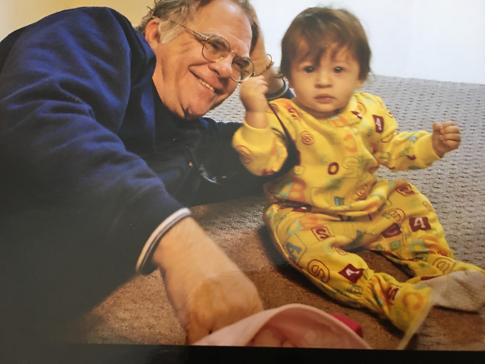 Child and Grandparent, One year old, playing