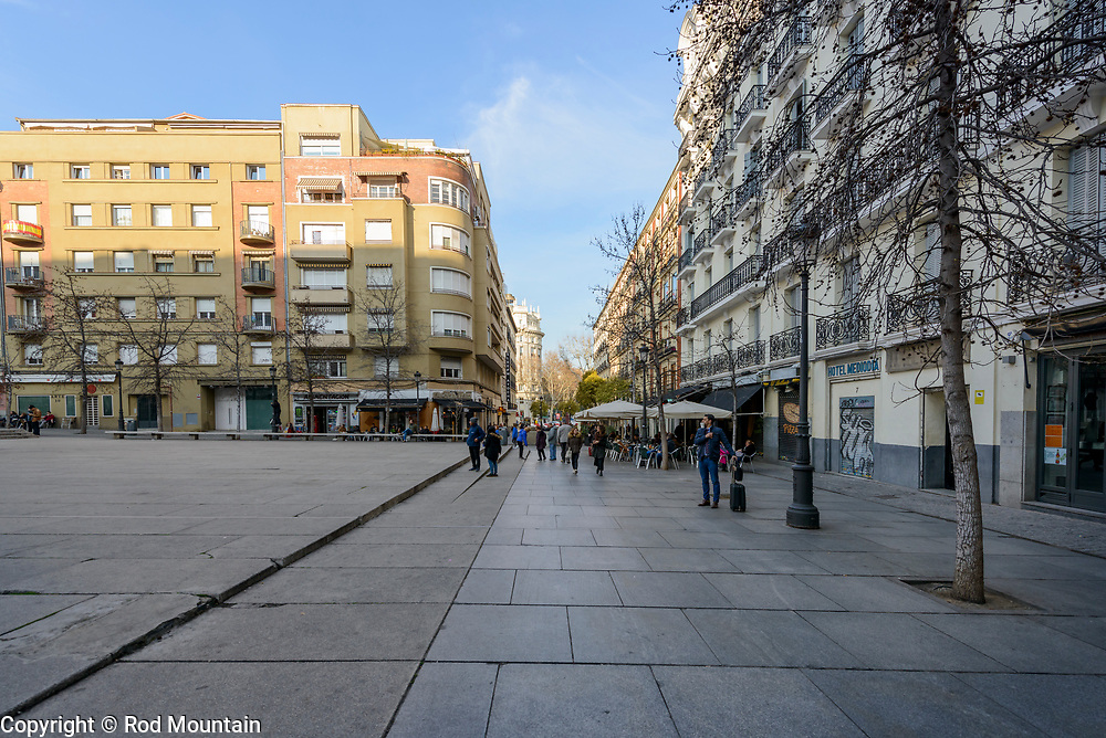 Madrid, Spain - February 16, 2018 - …near the Sabatini Building at Museo Nacional Centro de Arte Reina Sofia. <br /> <br /> Image: © Rod Mountain<br /> <br /> http://www.rodmountain.com <br /> <br /> http://bit.ly/Madrid_bw<br /> <br /> #europe_pics  #europestyle_ #visitamadrid #storyofthestreet #streetexploration #illkillers #peopleinsquare #storyofthestreets #timeless_streets #instapassport #TLPicks #bnw_madrid #enblancoynegro #ig_europe #all_bnwshots  #simply_noir_blanc #ir_bnw #bnwhole #bnw_greatshots #square #latergram<br /> <br /> Instagram<br /> @spain @visita_madrid @museoreinasofia<br /> <br /> FaceBook<br /> @spain.info @visitamadridoficial @museoreinasofia<br /> <br /> Twitter<br /> @spain @Visita_Madrid @VisitMadrid_EN @museoreinasofia<br /> <br /> https://www.esmadrid.com/en<br /> https://en.wikipedia.org/wiki/Madrid<br /> https://www.spain.info/en/<br /> https://www.museoreinasofia.es/en/visit