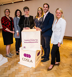 Pictured: Sally Louden, COSLA Chief Executive, Lauren Bruce, Policy Manager, COSLA Finance, Alison Evison, Gail Macgregor, Adam McVey and Vicki Bibby,  Chief Officer Local Government finance<br /> The President of COSLA Councillor Alison Evison was joined today in Edinburgh by Councillor Gail Macgregor, COSLA's Resources Spokesperson and Councillor Adam McVey, Leader of Edinburgh City Council to set out in detail, Scottish Local Government's case for the introduction of a Transient Visitor Tax (Tourist tax).<br /> <br /> <br /> Ger Harley | EEm Date