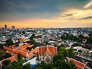 20 NOVEMBER 2015 - BANGKOK, THAILAND: Looking southwest. The skyline of the city of Bangkok as seen from the top of Wat Saket, also known as the Golden Mount, a historic Buddhist temple in Bangkok.     PHOTO BY JACK KURTZ