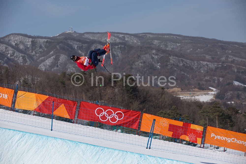 Peter Speight, Great Britian, during ski halfpipe practice during the Pyeongchang Winter Olympics on 16th February 2018 at Phoenix Snow Park in South Korea