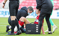 Middlesbrough's Dael Fry receives treatment after a boot to the face<br /> <br /> Photographer Alex Dodd/CameraSport<br /> <br /> The EFL Sky Bet Championship - Middlesbrough v Blackburn Rovers - Sunday 24th January 2021 - Riverside Stadium - Middlesbrough <br /> <br /> World Copyright © 2021 CameraSport. All rights reserved. 43 Linden Ave. Countesthorpe. Leicester. England. LE8 5PG - Tel: +44 (0) 116 277 4147 - admin@camerasport.com - www.camerasport.com