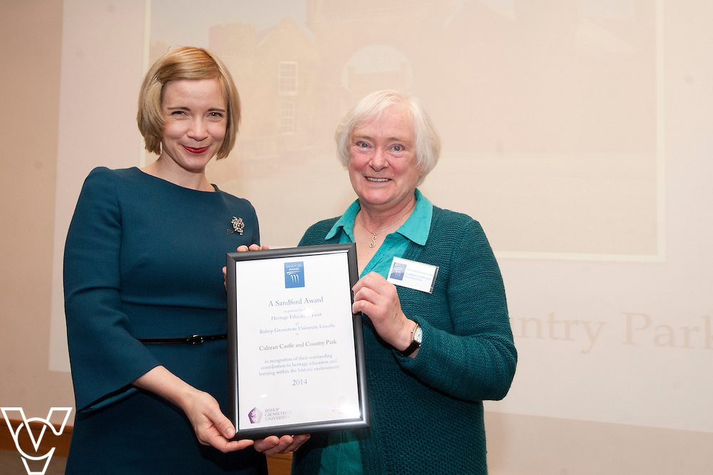 Chief curator of the Historic Royal Palaces, Dr Lucy Worsley presents an award to representatives from Culzean Castle and Country Park<br /> <br /> Sandford Awards 2014 ceremony held at the National Maritime Museum, Greenwich.<br /> Date: December 5, 2014<br /> <br /> Picture: Chris Vaughan/Chris Vaughan Photography