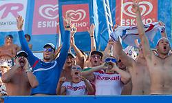 02.08.2013, Klagenfurt, Strandbad, AUT, A1 Beachvolleyball EM 2013, Viertelfinale Damen, Spiel 67, im Bild russian Fans of Ekaterina KHOMYAKOVA 1 RUS / Evgenia UKOLOVA 2 RUS // during ladies quarterfinals match 67 of the A1 Beachvolleyball European Championship at the Strandbad Klagenfurt, Austria on 2013/08/02. EXPA Pictures © 2013, EXPA Pictures © 2013, PhotoCredit: EXPA/ Mag. Gert Steinthaler