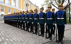 May 4, 2017 - Moscow, Russia - May 4, 2017. - Russia, Moscow. - Honor guard at the unveiling of a cross near the Kremlin's Nikolskaya Tower in honor of Grand Prince Sergey Aleksandrovich, Governor-General of Moscow in 1891-1905. (Credit Image: © Russian Look via ZUMA Wire)