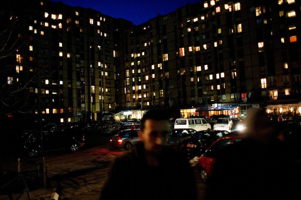 Walking in Dardania neighborhood of Prishtina...Prishtina, Kosovo - Eve of one-year anniverary - February 16, 2009.