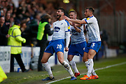 Goal celebration by Oliver Banks of Tranmere Rovers  during the EFL Sky Bet League 2 play off first leg match between Tranmere Rovers and Forest Green Rovers at Prenton Park, Birkenhead, England on 10 May 2019.
