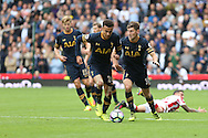 Dele Alli of Tottenham Hotspur (c) makes a break. Premier league match, Stoke City v Tottenham Hotspur at the Bet365 Stadium in Stoke on Trent, Staffs on Saturday 10th September 2016.<br /> pic by Chris Stading, Andrew Orchard sports photography.