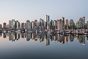 City reflecting in Coal Harbour, Vancouver