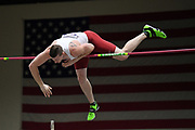 Andrew Irwin places fifth in the elite men's competition at 18-4 1/2 (5.60m) during the National Pole Vault Summit, Friday, Jan. 17, 2020, in Reno, Nev.