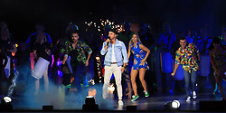 Guy Sebastian performs on stage during the Closing Ceremony for the 2018 Commonwealth Games at the Carrara Stadium in the Gold Coast, Australia.