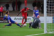 Carshalton Athletic Peter Adeniyi (4) during the Ryman League - Div One South match between Carshalton Athletic and South Park FC at War Memorial Sports Ground, Carshalton, United Kingdom on 19 November 2016. Photo by Jon Bromley.