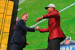 April 26, 2018 - Arlington, TX, U.S. - ARLINGTON, TX - APRIL 26:  Derwin James shakes hands with Commissioner Roger Goodell  after being chosen by the Los Angeles Chargers with the 17th pick during the first round at the 2018 NFL Draft at AT&T Statium on April 26, 2018 at AT&T Stadium in Arlington Texas.  (Photo by Rich Graessle/Icon Sportswire) (Credit Image: © Rich Graessle/Icon SMI via ZUMA Press)
