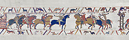 Bayeux Tapestry scene 13 :  Guy de Ponthieu, left,  hands Harold over to William the Conqueror, right. BYX13 .<br /> <br /> If you prefer you can also buy from our ALAMY PHOTO LIBRARY  Collection visit : https://www.alamy.com/portfolio/paul-williams-funkystock/bayeux-tapestry-medieval-art.html  if you know the scene number you want enter BXY followed bt the scene no into the SEARCH WITHIN GALLERY box  i.e BYX 22 for scene 22)<br /> <br />  Visit our MEDIEVAL ART PHOTO COLLECTIONS for more   photos  to download or buy as prints https://funkystock.photoshelter.com/gallery-collection/Medieval-Middle-Ages-Art-Artefacts-Antiquities-Pictures-Images-of/C0000YpKXiAHnG2k