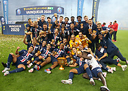 Players of PSG celebrate the victory during the trophy ceremony following the French Ligue Cup final match between Paris Saint-Germain (PSG) and Olympique Lyonnais (OL, Lyon) on July 31, 2020 at the Stade de France, in Saint-Denis, near Paris, France - Photo Juan Soliz / ProSportsImages / DPPI