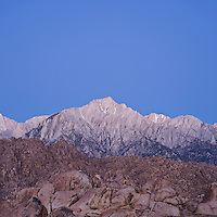 Lone Pine peak and Sierra Nevada Mountains viewed from Alabama HIlls, Owen's Valley, California