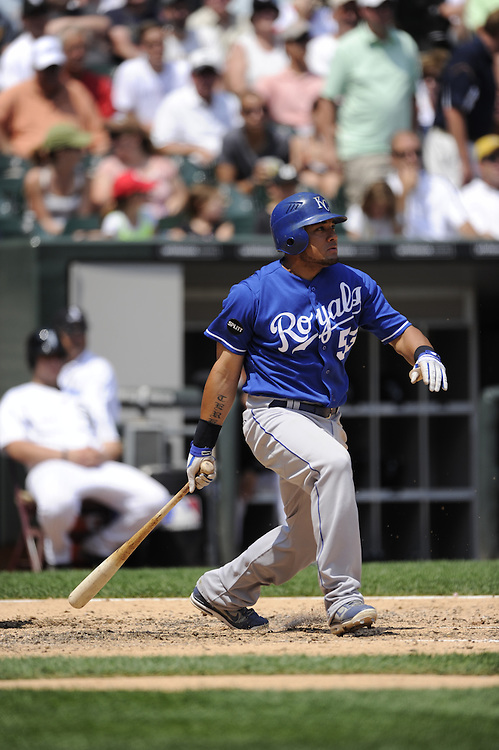 CHICAGO - JULY 06:  Melky Cabrera #53 of the Kansas City Royals bats against the Chicago White Sox on July 6, 2011 at U.S. Cellular Field in Chicago, Illinois.  The Royals defeated the White Sox 4-1.  (Photo by Ron Vesely)  Subject: Melky Cabrera