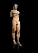 Marble Anxcient Greek Archaic meble statue of a kouros, circa 530 BC, found in Kea,  Athens National Archaeological Museum. Cat no 3886.  Against blackb<br /> <br /> The statue is a lively sculpture with good plasticity in the rendering of the torso. Made by a Kea sculptor. .<br /> <br /> If you prefer to buy from our ALAMY STOCK LIBRARY page at https://www.alamy.com/portfolio/paul-williams-funkystock/greco-roman-sculptures.html . Type -    Athens    - into LOWER SEARCH WITHIN GALLERY box - Refine search by adding a subject, place, background colour, etc.<br /> <br /> Visit our ROMAN WORLD PHOTO COLLECTIONS for more photos to download or buy as wall art prints https://funkystock.photoshelter.com/gallery-collection/The-Romans-Art-Artefacts-Antiquities-Historic-Sites-Pictures-Images/C0000r2uLJJo9_s0