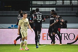 Players of PSV celebrating during football match between NS Mura and PSV Eindhoven in Third Round of UEFA Europa League Qualifications, on September 24, 2020 in Stadium Fazanerija, Murska Sobota, Slovenia. Photo by Blaz Weindorfer / Sportida