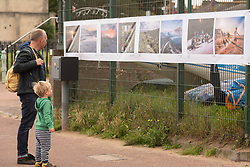 "An outdoor photography exhibition was installed this morning in Portobello, Edinburgh. The exhibition links Portobello with the town of Akureyri in northern Iceland. Fifteen photographers from each place have contributed images on paired themes. The Portobello exhibition is part of this year's Art Walk Porty - a pandemic resticted version of the annnual arts event on the theme ""All at Sea"". The exhibition is also currently on display in Iceland, in a similar outdoor location. <br /> © Jon Davey/ EEm"