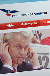 Detail of screenshot from website of the Dutch freedom Party and Geert Wilders the leader