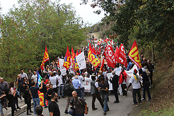 Italy, Riace  - October 6, 2018.Demonstration of solidarity with Domenico Lucano, Mayor of Riace arrested for allegedly aiding illegal immigration. The demonstrators demand the release of the arrested Mayor (Credit Image: © Albano Angilletta/Ropi via ZUMA Press)