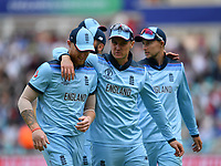 Cricket - 2019 ICC Cricket World Cup warm-ups - England vs. Afghanistan <br /> <br /> England's Jason Roy and Ben Stokes leave the pitch after dismissing Afghanistan for 160, at The Oval.<br /> <br /> COLORSPORT/ASHLEY WESTERN
