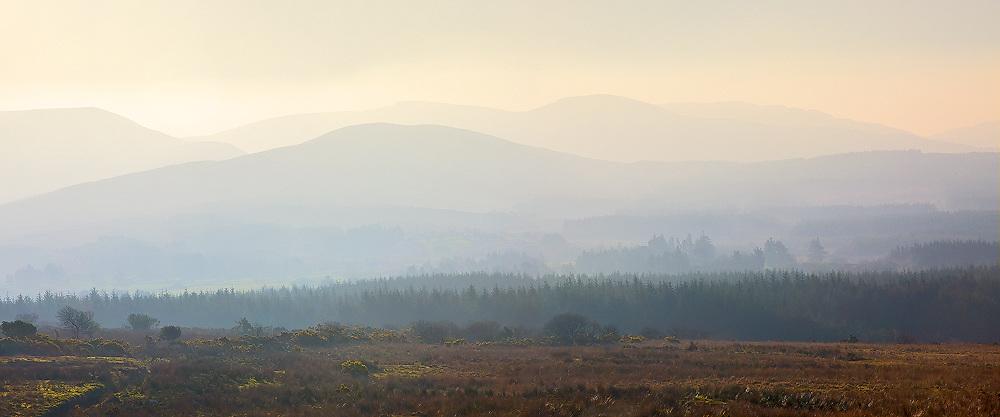 Panoramic Misty Sunrise Kerry Highlands, County Kerry, Ireland / ba076