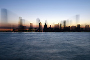 MANHATTAN, NEW YORK, APRIL 20, 2016: The Jersey City Skyline as seen from Battery Park City in Manhattan, NY.  4/20/2016 Photo by ©Jennifer S. Altman