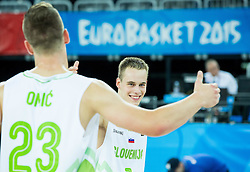 Alen Omic of Slovenia and Klemen Prepelic of Slovenia celebrates after winning during basketball match between Slovenia vs Netherlands at Day 4 in Group C of FIBA Europe Eurobasket 2015, on September 8, 2015, in Arena Zagreb, Croatia. Photo by Vid Ponikvar / Sportida