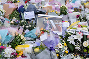 Two days after the killing of the Conservative member of parliament for Southend West, Sir David Amess MP, is a detail of floral tributes left (including by members of the Muslim community) in Eastwood Road North, a short distance from Belfairs Methodist Church in Leigh-on-Sea, on 17th October 2021, in Leigh-on-Sea, Southend , Essex, England. Amess was conducting his weekly constituency surgery when attacked with a knife by Ali Harbi Ali.