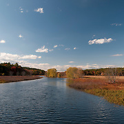 The scenic Sudbury River, winding through Wayland, Massachusetts. Its waters are polluted by old manufacturing sources upstream.