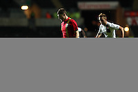 Pictured L-R: Ben Davies of Wales chased by Sebastian Prodl of Austria. Wednesday 06 February 2013..Re: Vauxhall International Friendly, Wales v Austria at the Liberty Stadium, Swansea, south Wales.