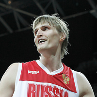 02 August 2012: Russia Andrei Kirilenko reacts during 75-74 Team Russia victory over Team Brazil, during the men's basketball preliminary, at the Basketball Arena, in London, Great Britain.