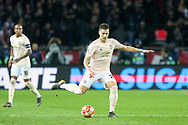 Manchester United Defender Diogo Dalot during the Champions League Round of 16 2nd leg match between Paris Saint-Germain and Manchester United at Parc des Princes, Paris, France on 6 March 2019.
